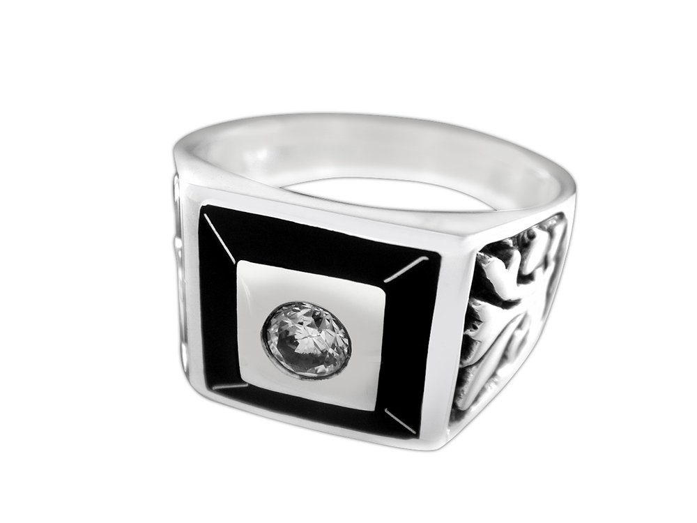 925 Sterling Silver Mens Celtic Irish Engraved Sides Clear Cubic Zirconia CZ Ring