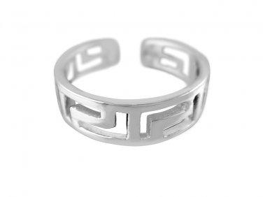 925 Sterling Silver Greek Key Meander Meandros Adjustable Pinky Toe Ring