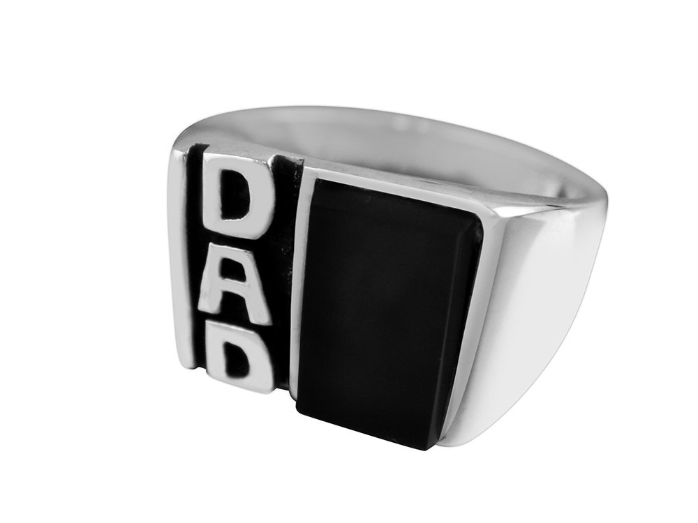 925 Sterling Silver Mens Black Onyx DAD Father's Day Family Oxidized Thick Solid Ring