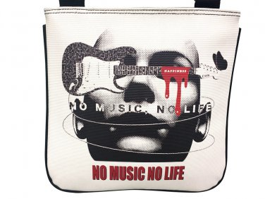 No Music No Life Guitar Cool Messenger Shoulder Sling Cross Body Bag Purse