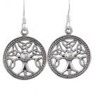 925 Sterling Silver Celtic Irish Knots Tree of Life Dangle Round Earrings Set