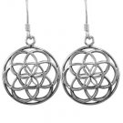 925 Sterling Silver Flower of Life Sacred Geometry Spiritual Dangle Round Earrings Set