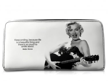 Marilyn Monroe Country Girl Play Guitar Card Money ID Holder Clutch White Wallet Purse Bag