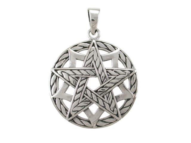925 Sterling Silver Pentagram Pentacle Pentagon Round Charm Pendant