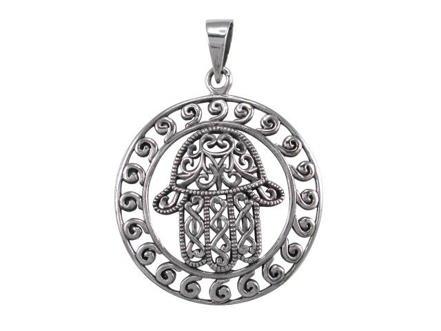 925 Sterling Silver Hamsa Hand of God Fatima Protection Filigree Amulet Charm Pendant