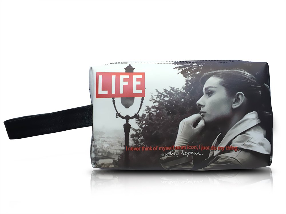 Audrey Hepburn Life Magazine Cover Make Up Lipstick Purse Cosmetic Zip Around Bag