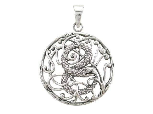 925 Sterling Silver Ouroboros Serpent Snake Infinity Eating Tail Filigree Charm Pendant