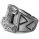 925 Sterling Silver Viking Thor's Hammer Mjölnir Mjolnir Futhark  Norse Runes Runic Biker Ring