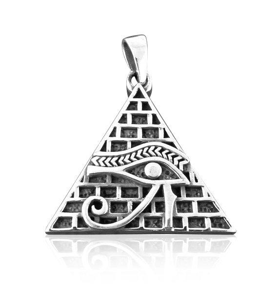 925 Sterling Silver Egyptian Pyramid All-Seeing Eye of Horus Illuminati Magic Charm Pendant