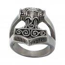 925 Sterling Silver Viking Thunder God Thor Hammer Mjölnir Mjolnir Futhark Odin Norse Biker Ring