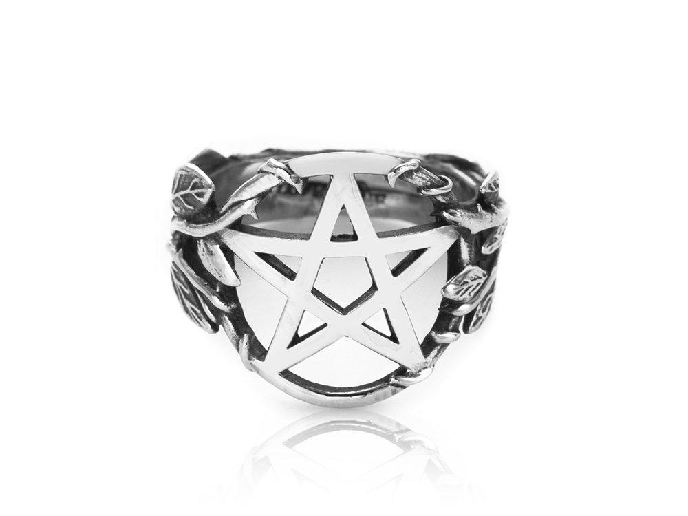 925 Sterling Silver Pentacle Pentagram Symbol Filigree Flower High Polish Ring