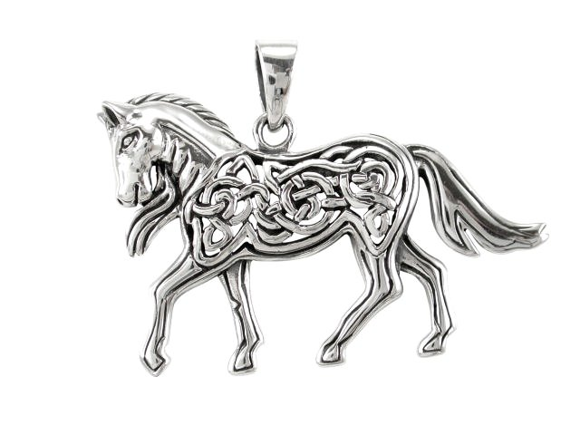 925 Sterling Silver Celtic Knots Knotwork Crafted Horse Big Charm Pendant