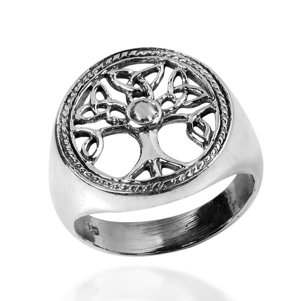 925 Sterling Silver Celtic Irish Knots Triquetra Tree of Life Ring
