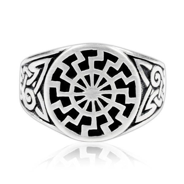 925 Sterling Silver Celtic Knot German Schwarze Sonne Black Sun Sonnenrad Ring