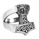 925 Sterling Silver Viking Wikinger God Thor Hammer Mjölnir Mjolnir Futhark Odin Norse Biker Ring