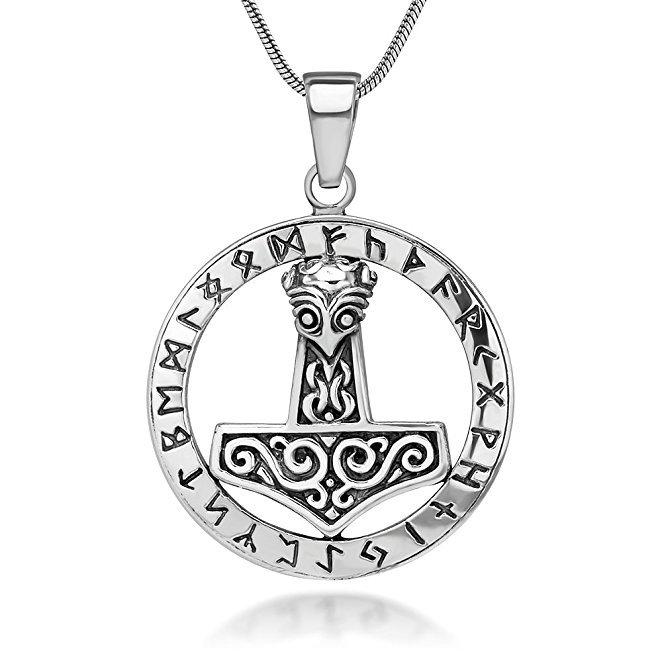 925 Sterling Silver Thor Hammer Mjolnir Mjölnir Icelandic Viking Norse Runes Runic Pendant