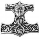 925 Sterling Silver Viking Odin Thor Hammer Mjölnir Mjolnir Norse Large Pendant