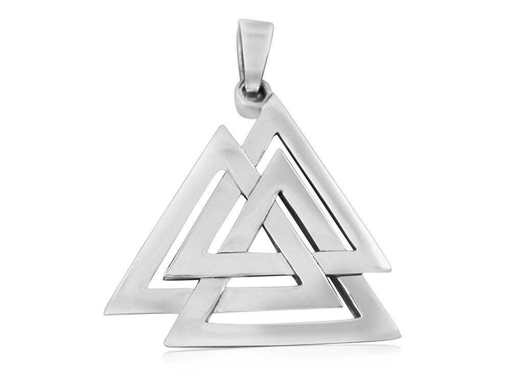925 Sterling Silver Nordic Norse Valknut Knot Viking Odin Asatru Pagan Pendant 6gr