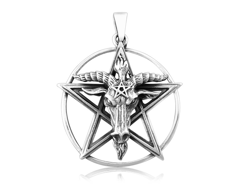 Sterling Silver Sigil of Baphomet Pentagram Horned Sabbatic Goat of Mendes Ram Satan Occult Pendant