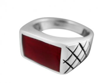 925 Sterling Silver Mens Genuine Carnelian Inlay Engraved Checkered Wide Ring