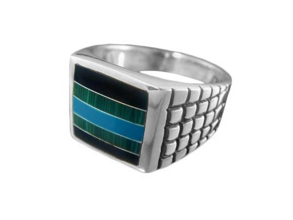 925 Sterling Silver Mens Onyx Malachite Turquoise Stone Set Inlay Band Ring