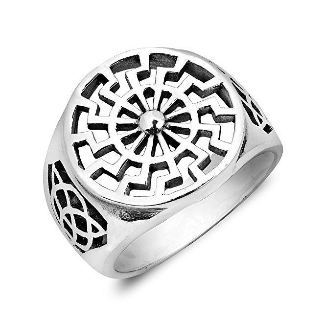 925 Sterling Silver German Schwarze Sonne Black Sun Wheel Sonnenrad Celtic Knot Ring