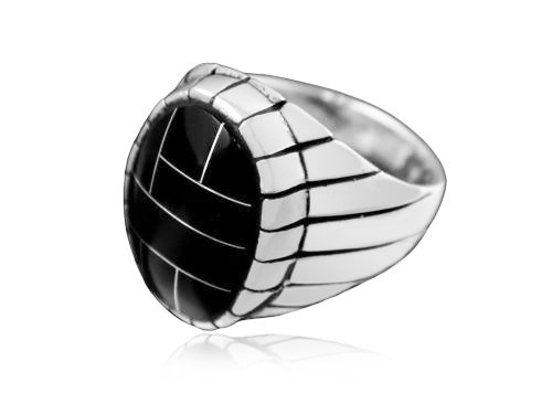 925 Sterling Silver Mens Black Onyx Engraved Sides Oval Thick Solid Ring