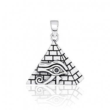 925 Sterling Silver All-Seeing Eye of God Eye of Providence Illuminati Charm Pendant