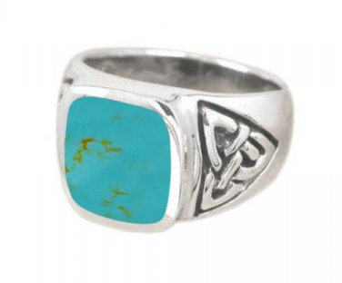 925 Sterling Silver Mens Rectangle Turquoise Inlay Celtic Irish Trinity Triquetra Knot Ring