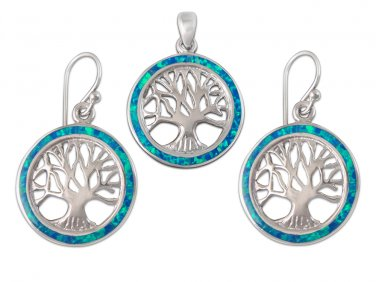 925 Sterling Silver Hawaiian Blue Fire Opal Tree of Life Dangle Earrings Pendant Set