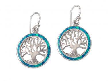 925 Sterling Silver Hawaiian Blue Fire Opal Tree of Life Dangle Earrings Set