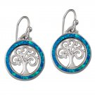 925 Sterling Silver Hawaiian Blue Fire Opal Celtic Tree of Life Dangle Earrings Set