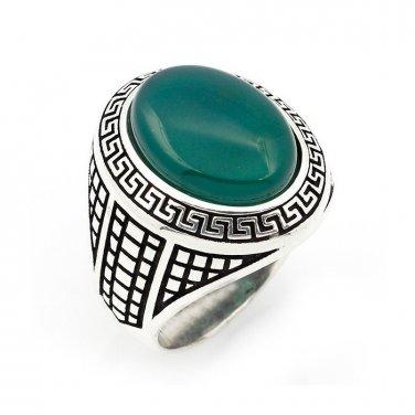 925 Sterling Silver Mens Green Agate Greek Key Meander Patterned Sides Ring