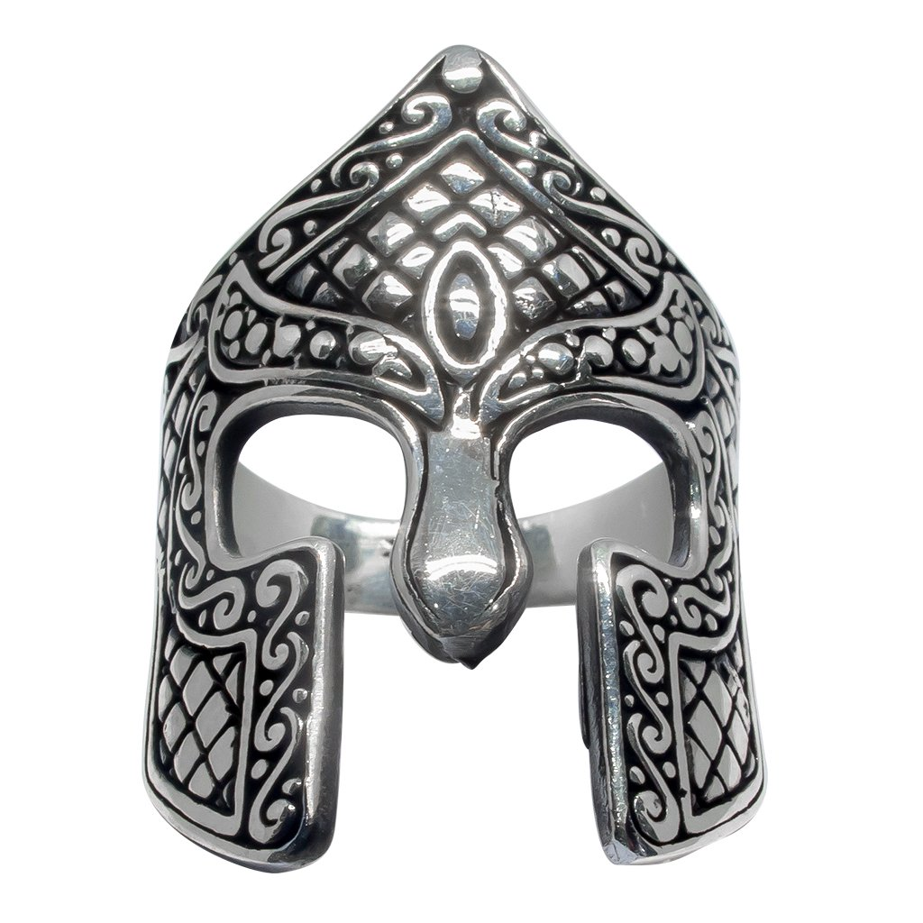 925 Sterling Silver Spartan Helmet Warrior 300 King Leonidas of Sparta Thermopylae Ring