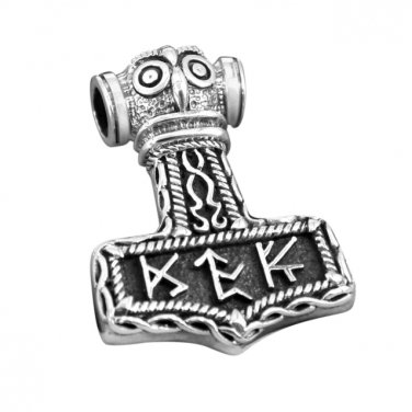 925 Sterling Silver Viking Thor Hammer Mjolnir Norse Runes Futhark Amulet Pendant