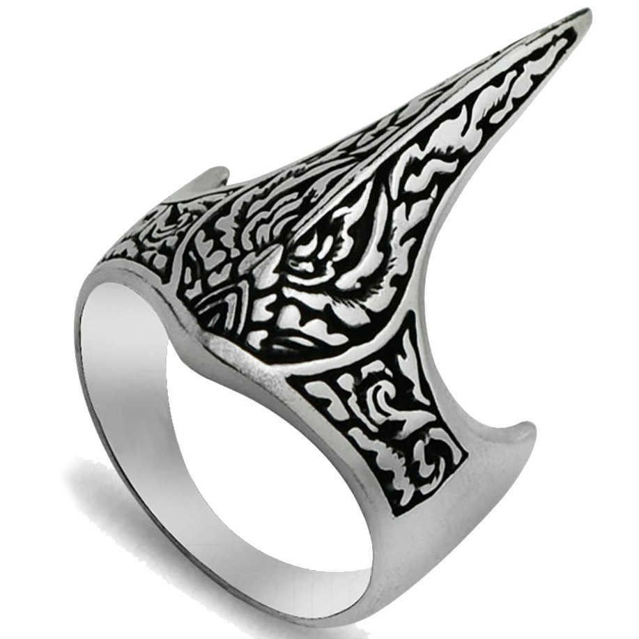 925 Sterling Silver Handmade Crown Archer Zighir Turkish Ottoman Jewelry Mens Ring
