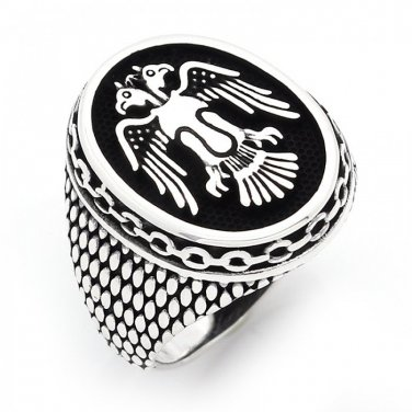 925 Sterling Silver Handmade Double-Headed Eagle Selcuklu Mens Oxidized Ring