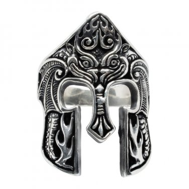 925 Sterling Silver Spartan Helmet Warrior 300 King Leonidas of Sparta Oxidized Ring