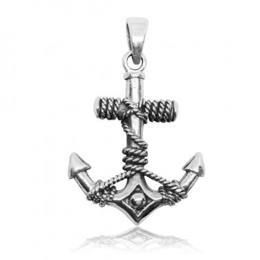 925 Sterling Silver Nautical Navy Sailor Ship Ocean Anchor Boat Rope Charm Pendant
