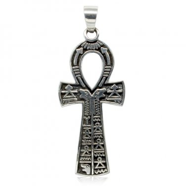 925 Sterling Silver Hieroglyphics Cartouche Pharaoh Ankh Cross Egypt Revival Pendant