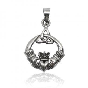 925 Sterling Silver Celtic Irish Claddagh Triquetra Trinity Knot Charm Pendant
