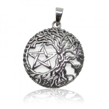 925 Sterling Silver Tree Of Life Wiccan Pagan Pentagram Pentacle Round Charm Pendant