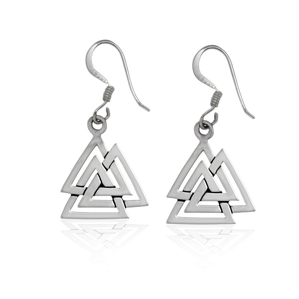 925 Sterling Silver Valknut Viking Knot Norse Runes Odin Dangle Earrings Set