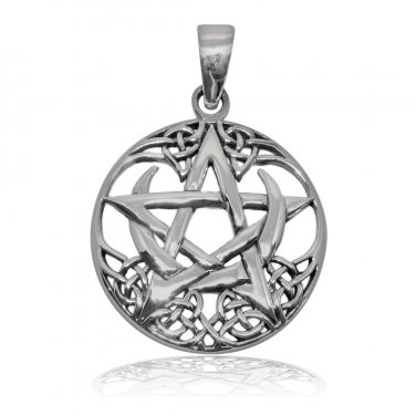 925 Sterling Silver Celtic Pagan Pentagram Crescent Moon Round Charm Pendant