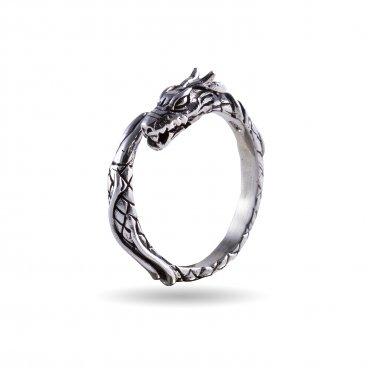 925 Sterling Silver Viking Jormungand Midgard Serpent Snake Dragon Ring