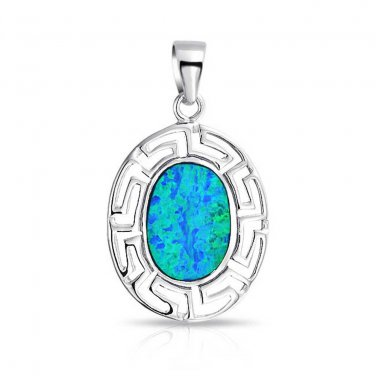 925 Sterling Silver Hawaiian Blue Fire Inlay Oval Opal Greek Key Meander Meandros Pendant