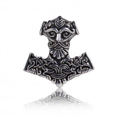 925 Sterling Silver Thor Hammer Mjolnir Odin Viking Wolf Fenrir Motif Amulet Pendant
