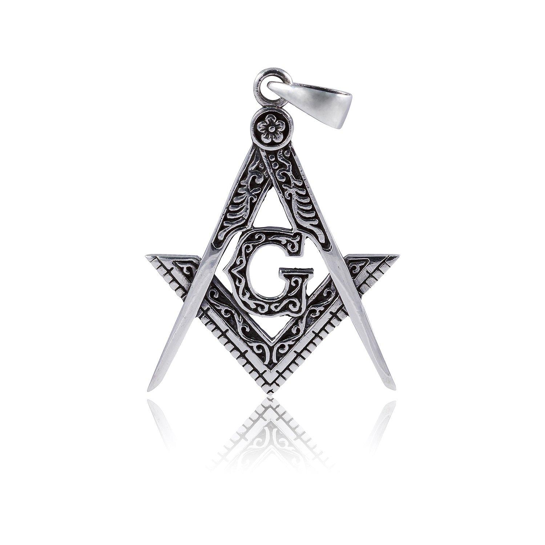 925 Sterling Silver Masonic Mason Freemasonry Freemason Compass Pendant