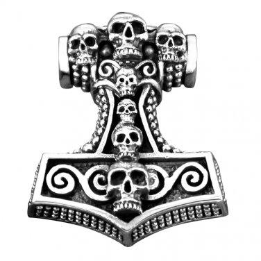925 Sterling Silver Viking Thor Hammer Mjolnir Gothic Skulls Tomb Amulet Pendant
