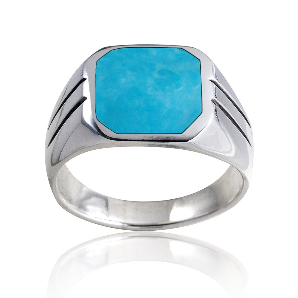 925 Sterling Silver Mens Square Turquoise Classic Style Solid Band Ring